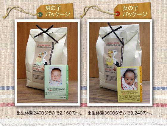 出産内祝い米 男の子、女の子 サンプルと価格